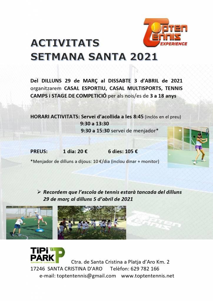 Actividades Tennis Semana Santa 2021